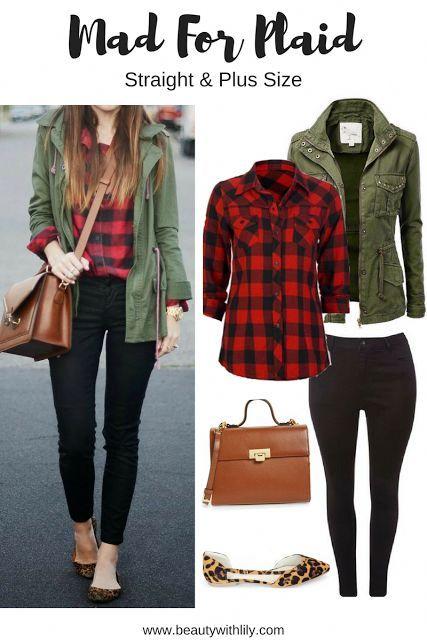 Fall Plaid Outfit Ideas | Regular & Plus Size #winterfashionideas .