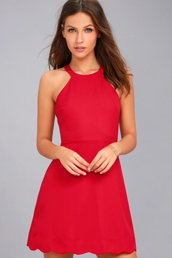 Cute Red Dress - Skater Dress - Halter Dre