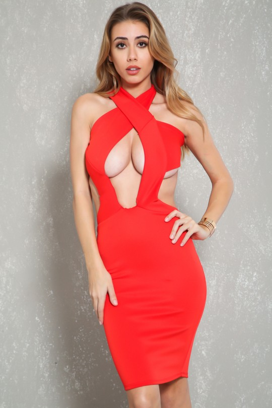 Sexy Red Halter Top Chest Cutout Cocktail Dre