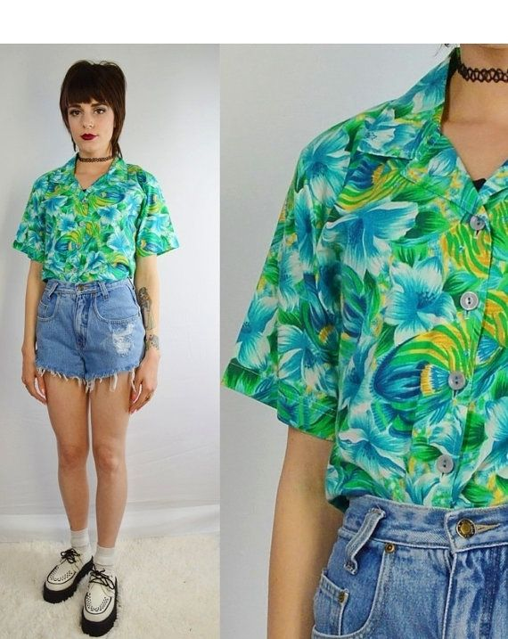 90s Hawaiian Shirt Tropical Floral Soft Grunge Sea Punk Hipster .