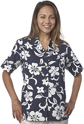 Benny's Womens Classic Hibiscus Hawaiian Shirt at Amazon Women's .