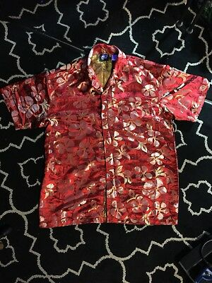 NOS Vintage 2001 Sharp Red Shiny Hawaiian Shirt | eB