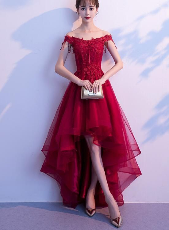 Dark Red High Low Dress, Beautiful Tulle and Lace Prom Dress .