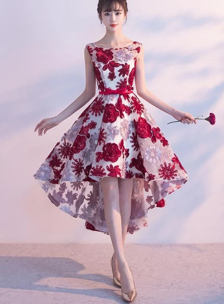 Red High Low Lace Round Neckline Homecoming Dress 2019, Short .
