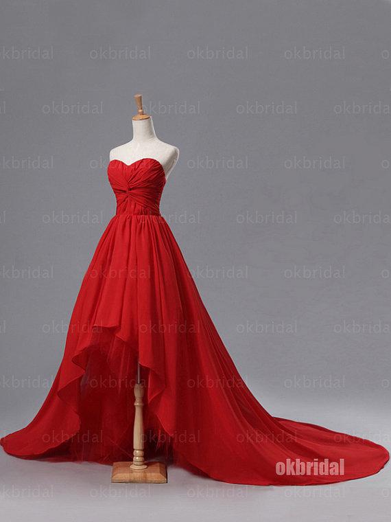 high low prom dress, red prom dress, chiffon prom dress, 2017 prom .