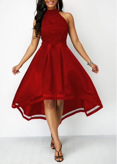 Wine Red Sleeveless Lace Panel High Low Dress | modlily.com - USD .