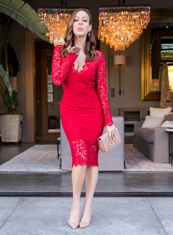Red Long Sleeved Lace Dress Perfect For Valentine's Day | Sydne Sty