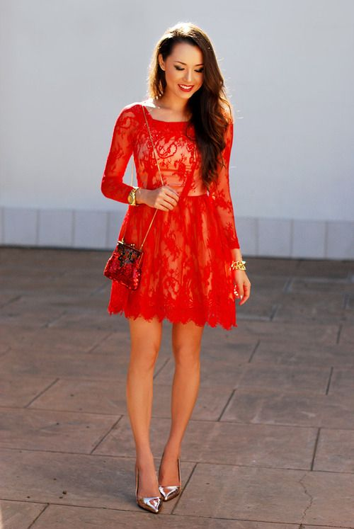 Red lace short dress and golden shoes | Red lace dress, Short lace .