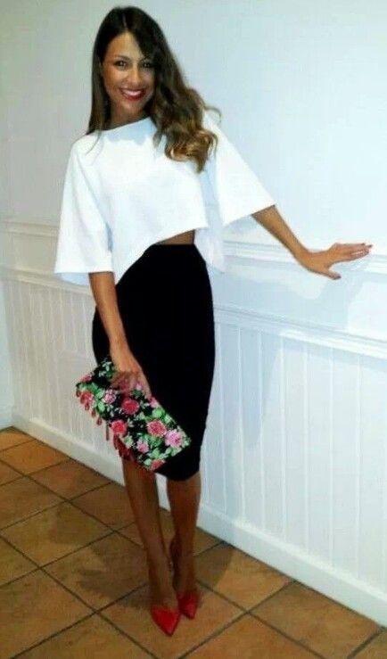 Black Pencil Skirt | White Asymmetrical Shirt | Red Heels | Red .