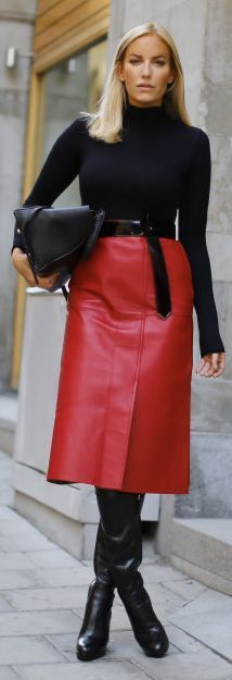 17 Best Red Leather Skirt images | Red leather skirt, Fashion .