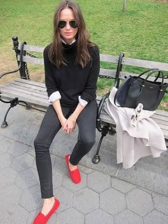 Image result for how to wear driving shoes women | Red shoes .