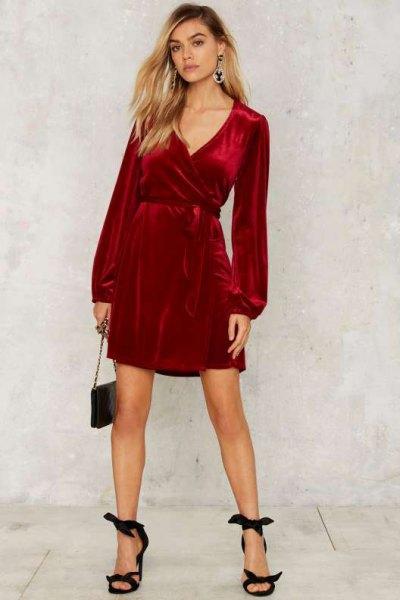 How to Wear Velvet Wrap Dress: 15 Super Chic Outfit Ideas - FMag.c
