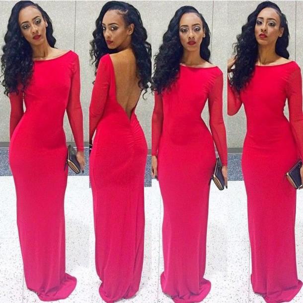dress, red dress, red prom dress, prom dress, long sleeve prom .