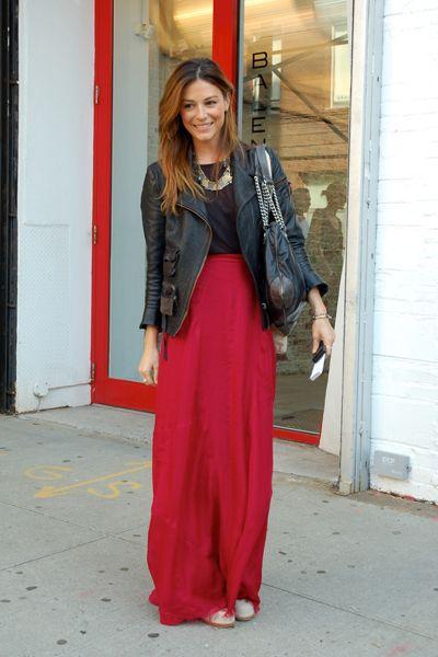 Daily Outfit Idea: Toughen Up Your Long Flirty Skirt | Maxi skirt .
