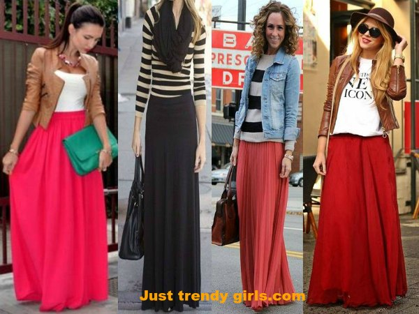 red maxi skirts street styles – Just Trendy Gir