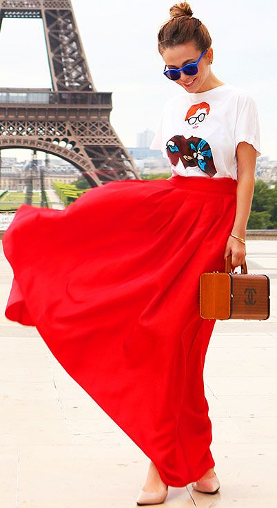 25 Maxi Skirt Outfits Ideas | Maxi skirt outfits, Red skirt .