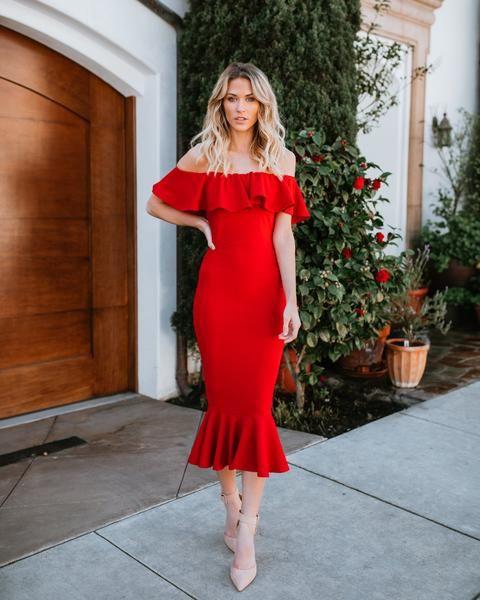 Havana Ruffle Midi Dress - Red | Havana style dresses, Red dress .