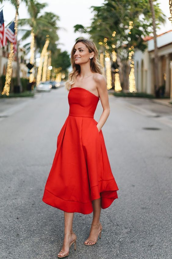 Date Night Red Dress Outfit Ideas #FashionTrend #FashionStyle .
