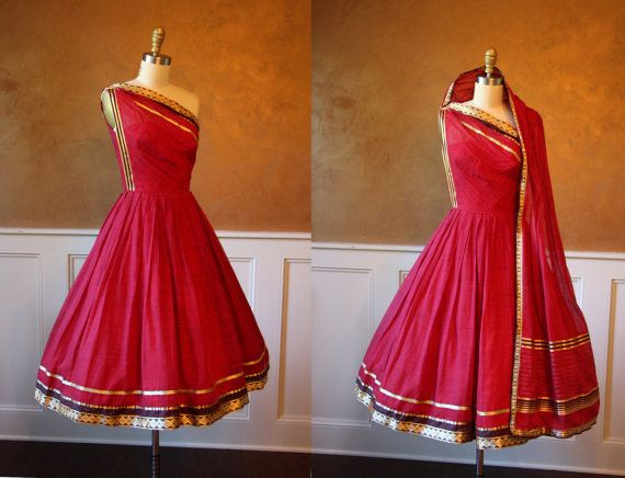 1950s Dress - Vintage 50s Dress - Red Silk Sari Couture One .