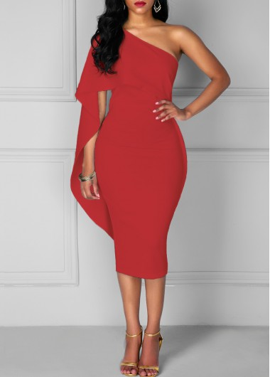 Red One Shoulder Batwing Sleeve Sheath Bodycon Midi Party Club .