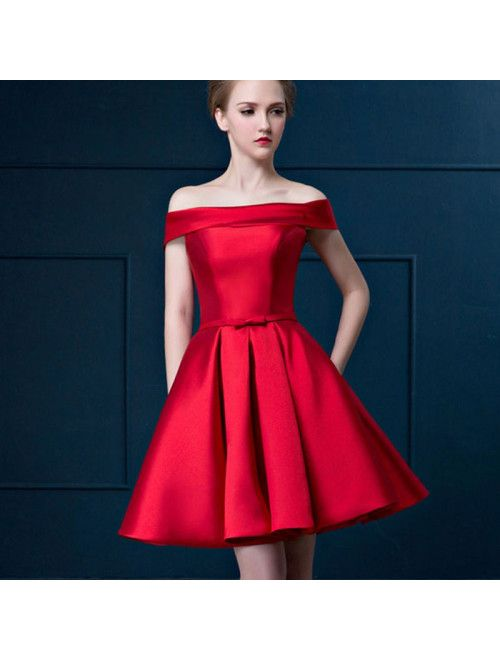 Cute Red Off Shoulder Satin Short Ball Dress | Evening gowns .