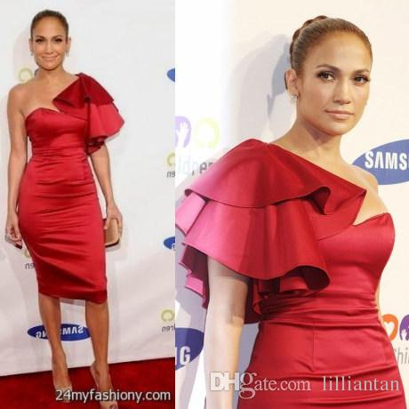 Jennifer Lopez Red Cocktail Party Dresses Knee Length Red Carpet .