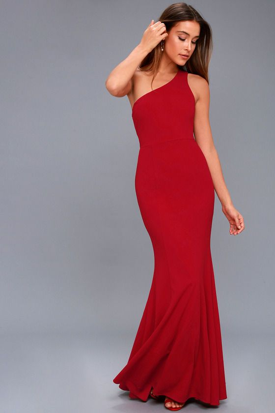 Brittany Wine Red One-Shoulder Maxi Dress | Red cocktail dress .