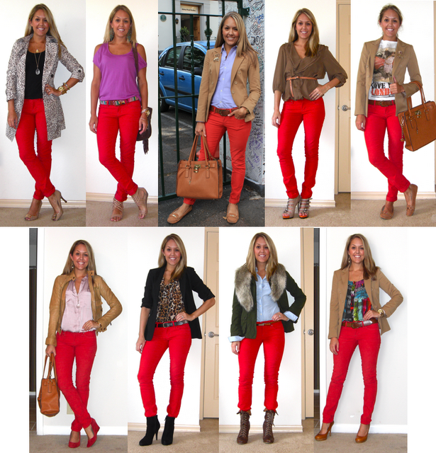Flashback Friday: Red Pants | Red pants outfit, Red jeans outfit .