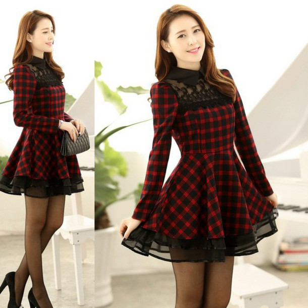 dress, plaid, black, casual, fall outfits, winter outfits, red .