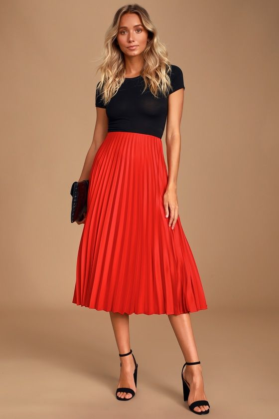 Galena Red Satin Pleated Midi Skirt in 2020 | Red pleated skirt .