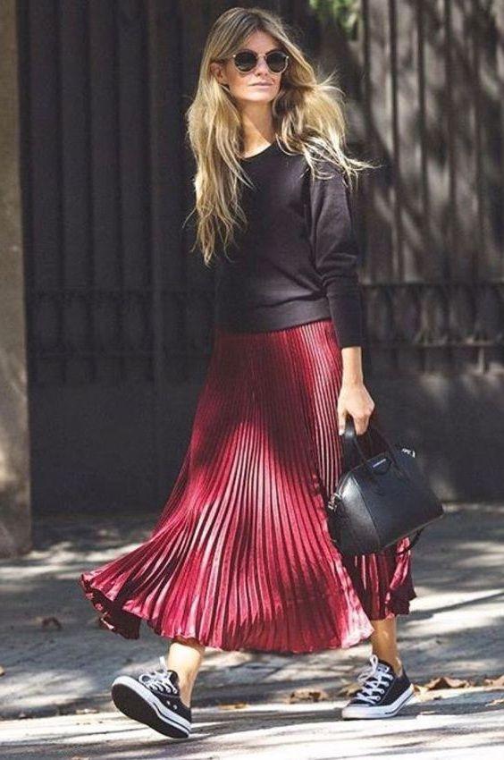 New burgundy metallic long pleated skirt maxi length wine red .