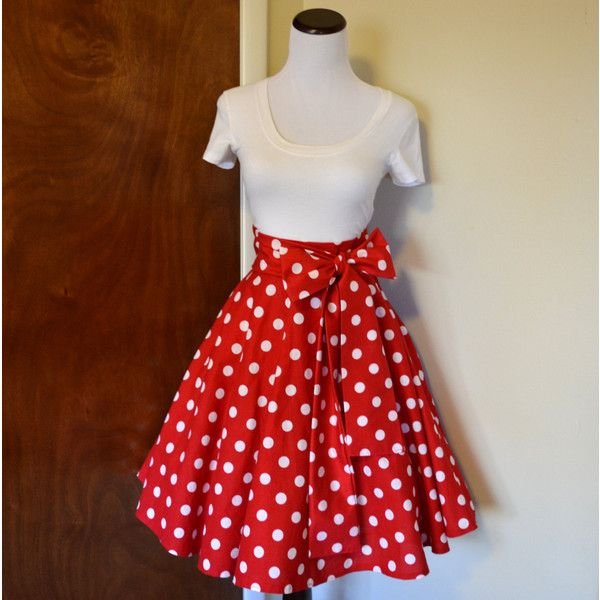 20-29 Waist Minnie Mouse Inspired Red and White Polka Dot Circle .