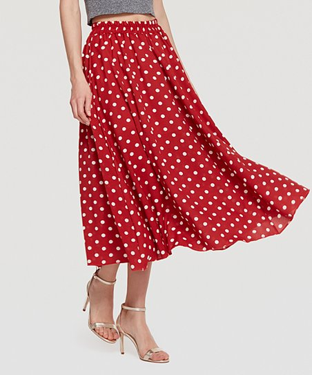 Coeur de Vague Red Polka Dot Midi Skirt | Zuli