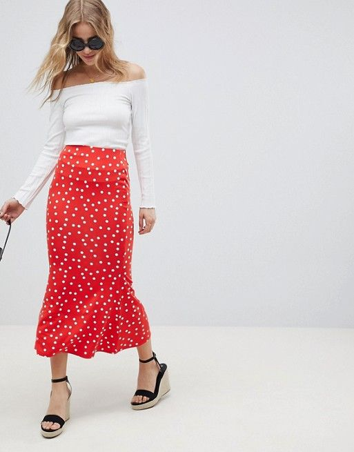polka dot skirt 3 ways | Red polka dot skirt, Maxi skirt outfits .