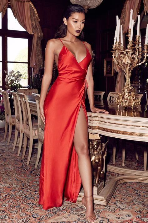 Clothing : Max Dresses : 'Audreyana' Red Satin Wrap Maxi Dress .
