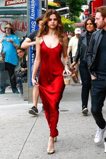 Selena Gomez's outfit is a Helmut Lang red dress sold on .