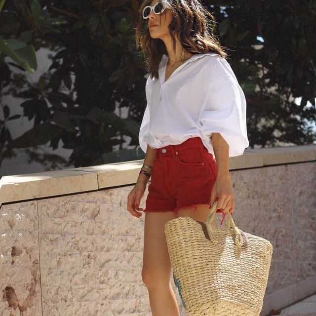 White Blouse & Red Shorts (With images) | Fashion, Plaid fashion .