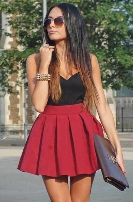 Skater skirt outfit #classy #preppy #skater-skirt | Red skater .