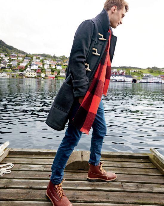 Men's Black Duffle Coat, Blue Skinny Jeans, Burgundy Leather Work .