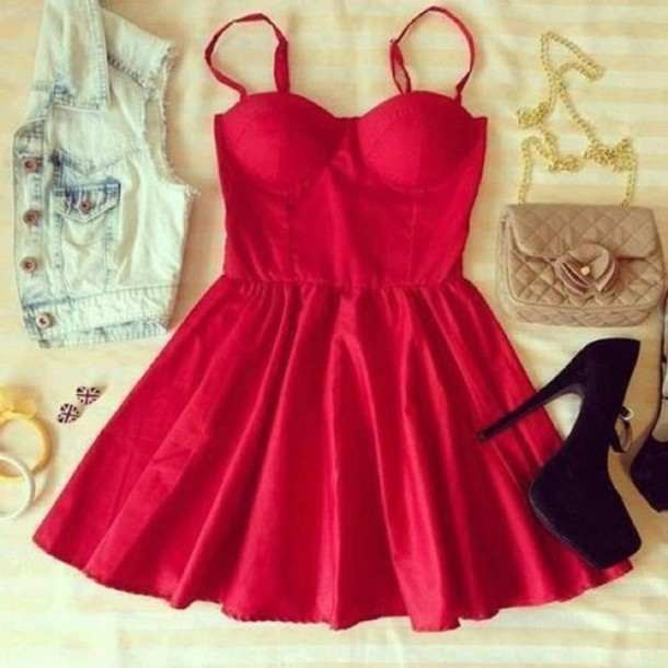red dress, quilted bag, short dress, denim vest, acid wash, outfit .