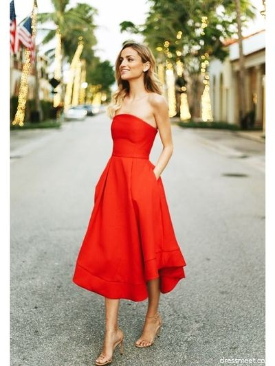 Classic Red Homecoming Dresses,Strapless Tea Length Sleeveless .