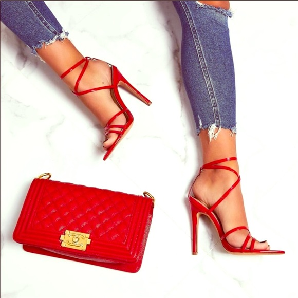 Cape Robbin Shoes   Super Strappy Red Pointed Heel   Poshma