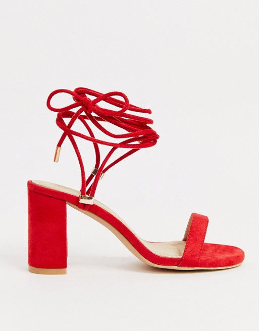 RAID Exclusive Alondra red strappy block heeled sandals | AS