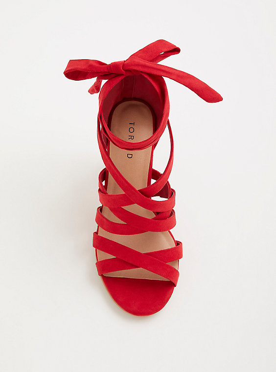 Plus Size - Red Strappy Lace-Up Heel (Wide Width) - Torr