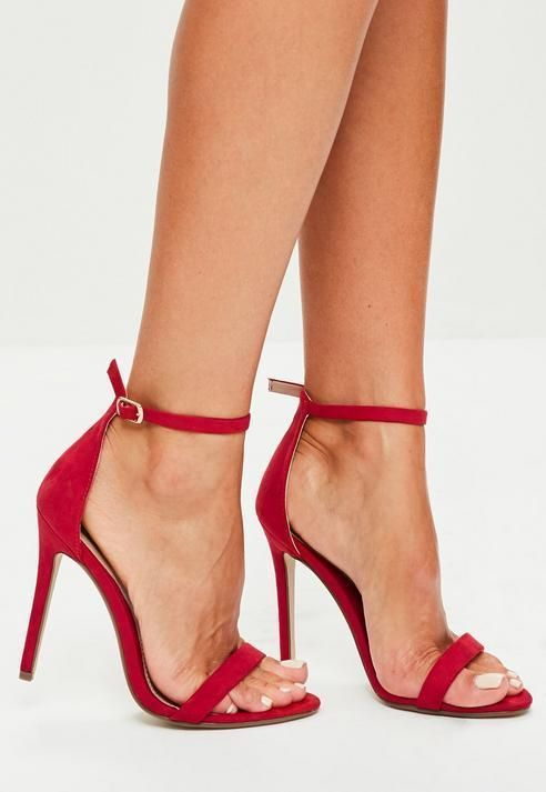 Missguided Red Two Strap Barely There Heels   Red strappy heels .