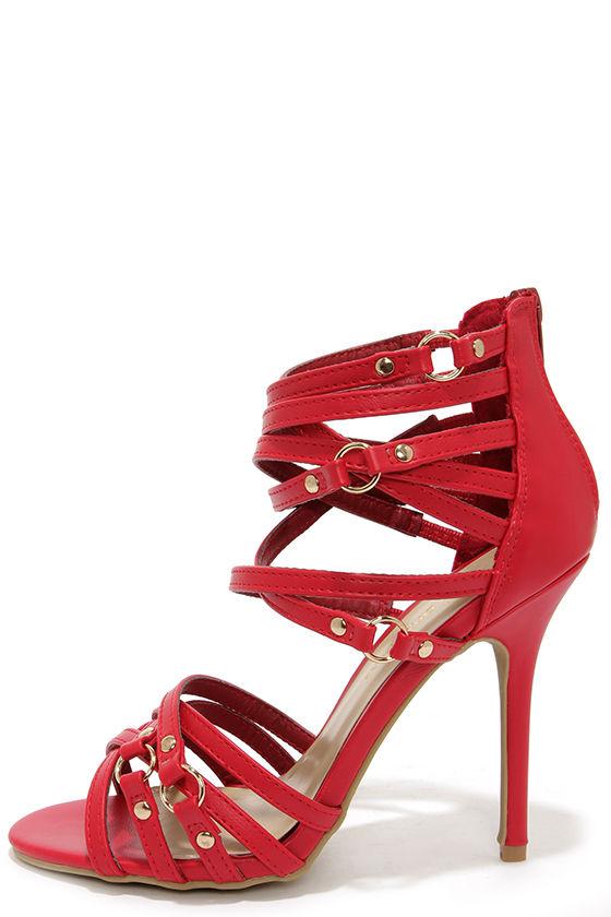 Sexy Red Heels - High Heel Sandals - Strappy Heels - $31.