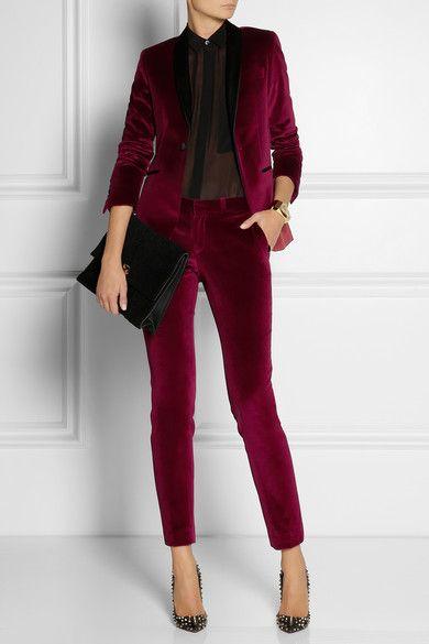 Each X Other satin-trimmed velvet tuxedo blazer and trousers .