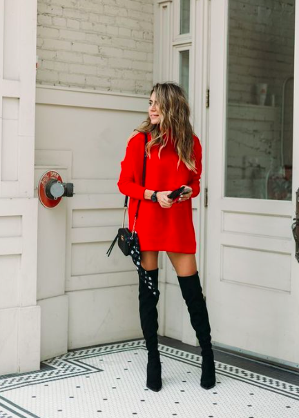 red turtleneck sweater dress with black thigh high boots. Visit .