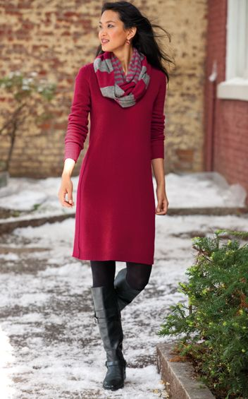 Red sweater dress - I just love the way this outfit is .