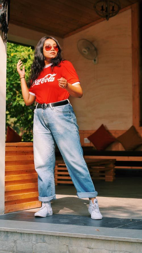 Cococola Tshirt, mom jeans, denims, red shades, red aviators .